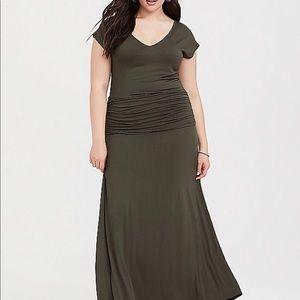 Black Ruched Maxi Dress